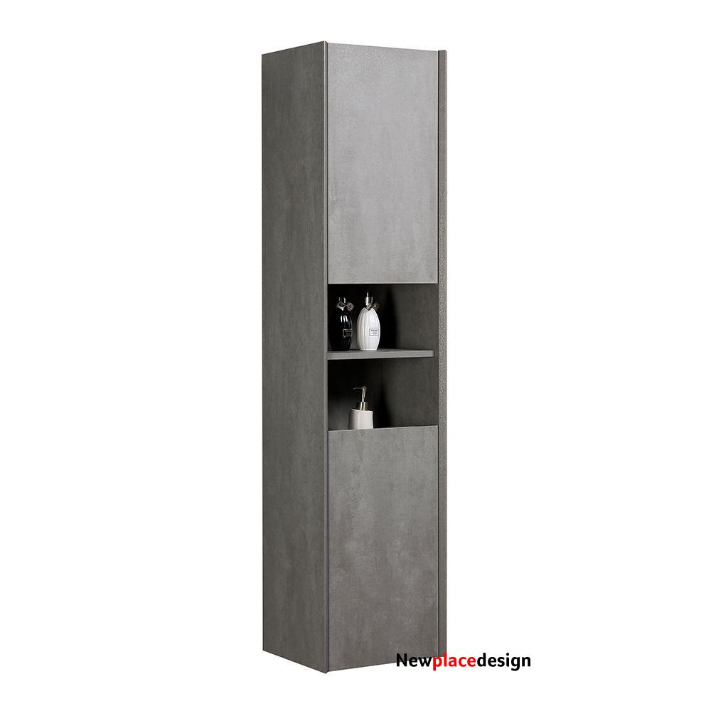 Orion Concrete Look Wall Hung Tall Storage Cabinet