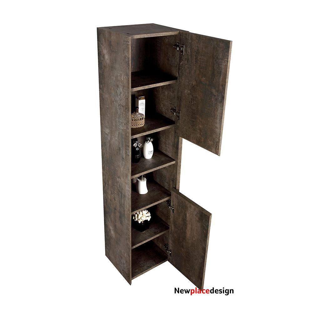 Orion Metallic Look Wall Hung Tall Storage Cabinet