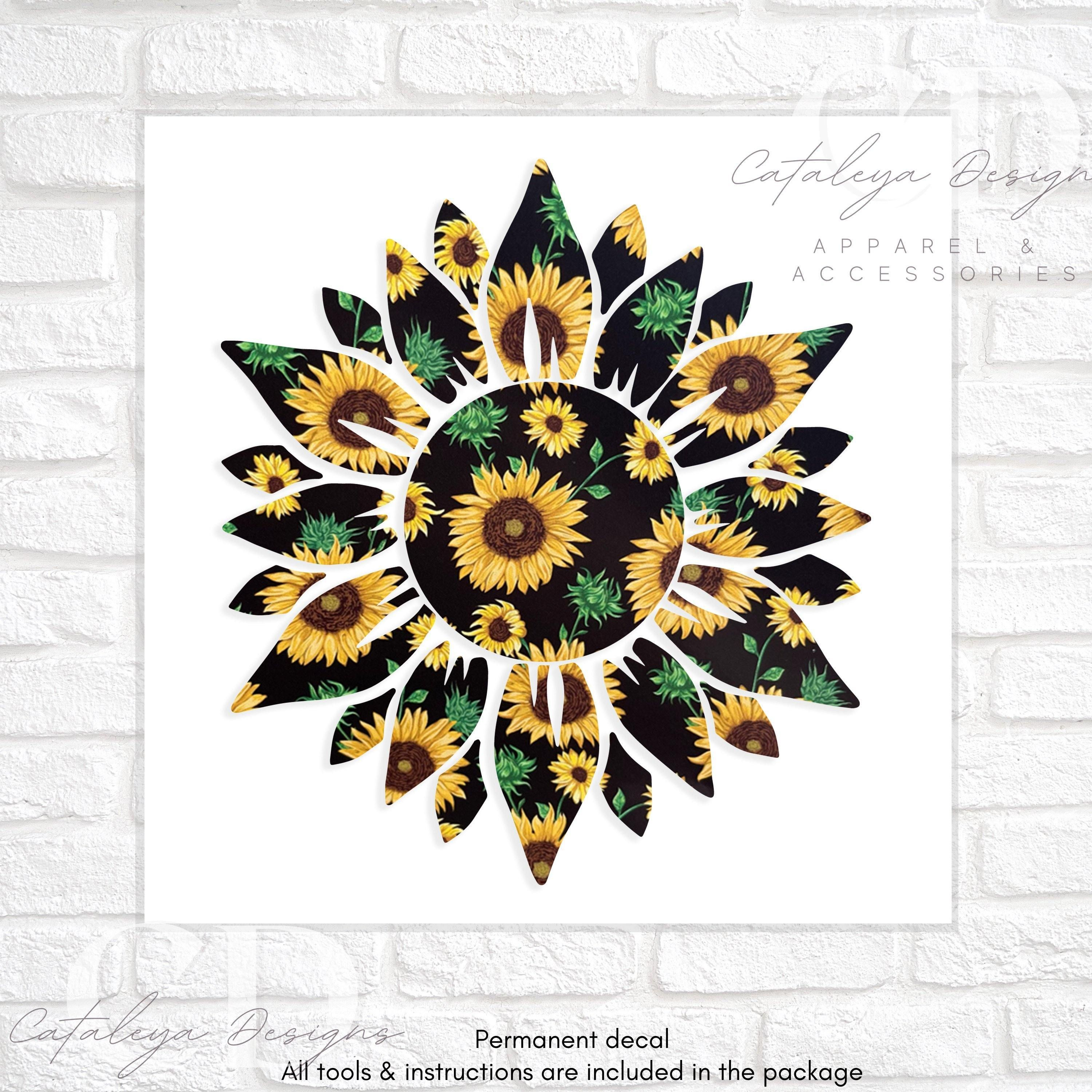 """PATTERNED SUNFLOWER DECAL - 4"""""""