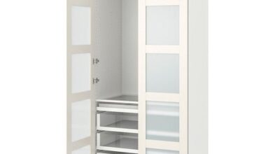 PAX / BERGSBO Wardrobe combination, white, frosted glass, 100x60x236 cm