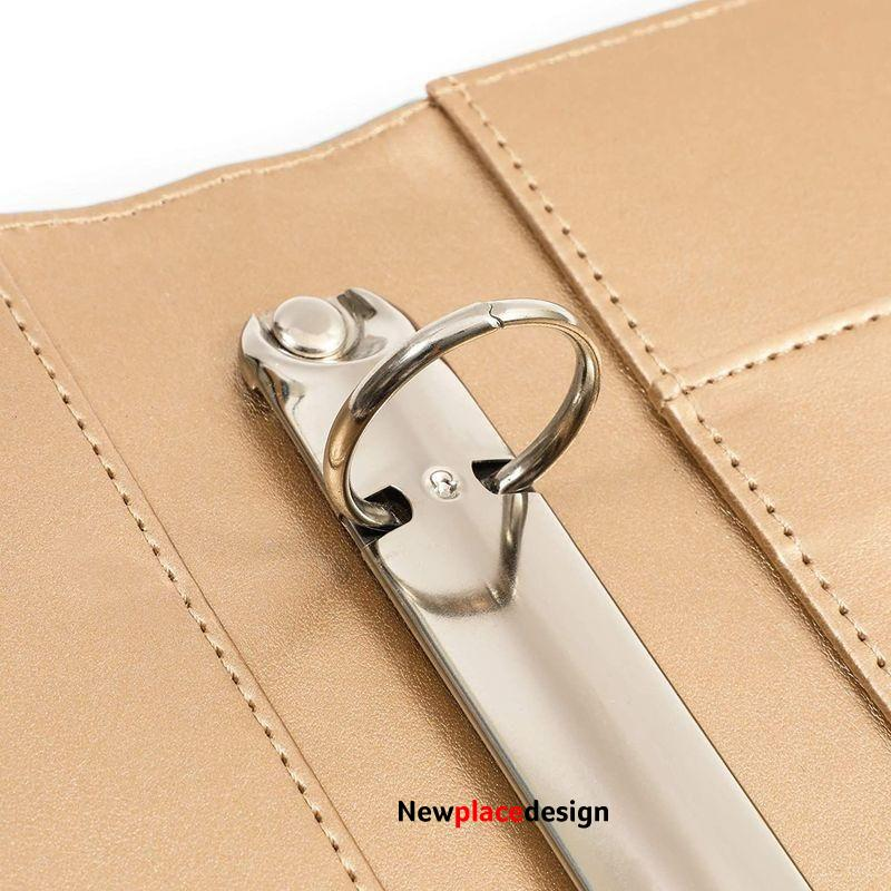 Padfolio Folder with 3 Ring Binder (Metallic Gold, Faux Leather, 10.8 x 13.2 Inches)