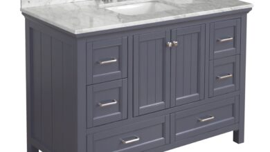 Paige 48-inch Vanity with Carrara Marble Top - Charcoal Gray