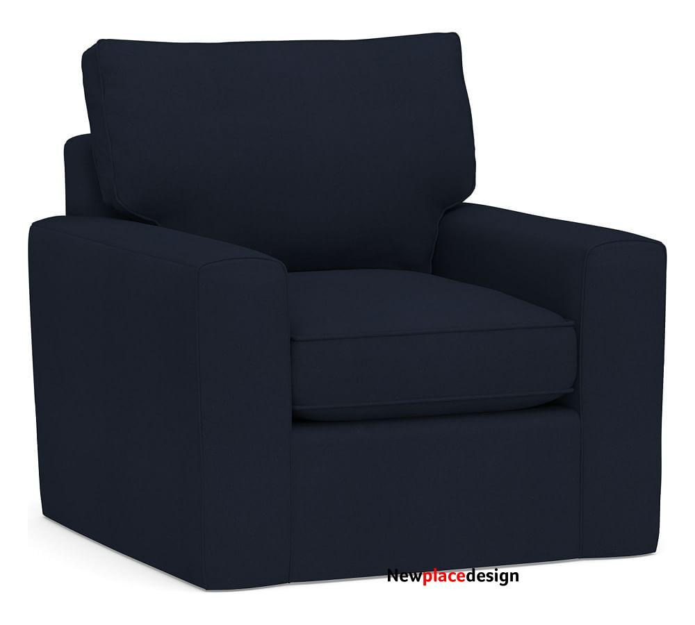 Pearce Square Arm Slipcovered Armchair, Down Blend Wrapped Cushions, Twill Cadet Navy