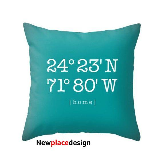 Personalized housewarming gift Custom home location pillow cover Teal personalized cushion Teal housewarming latitude and longitude teal