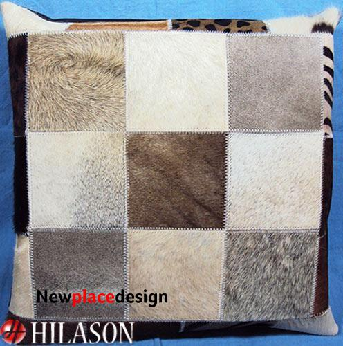 Pl189 Decorative Cowhide Smooth And Hair-On Leather Pillow Cover