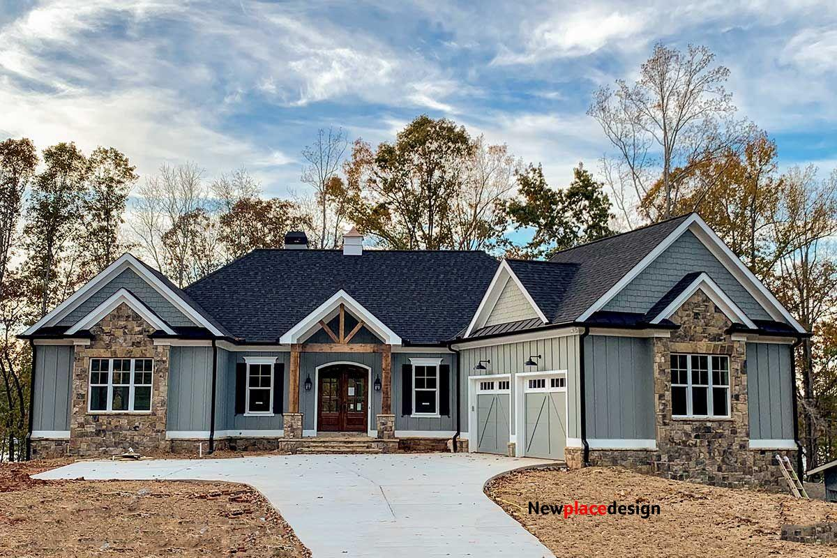 Plan 24382TW: 3-Bed Craftsman with Angled Garage for a Rear-Sloping Lot