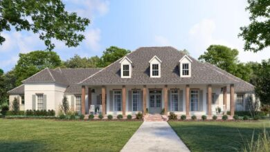 Plan 56495SM: Eye-Catching Acadian House Plan with Home Office and Split Bedrooms