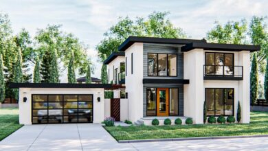 Plan 62869DJ: Gorgeous Modern-style 2-story Home Plan with Upstairs Family Room