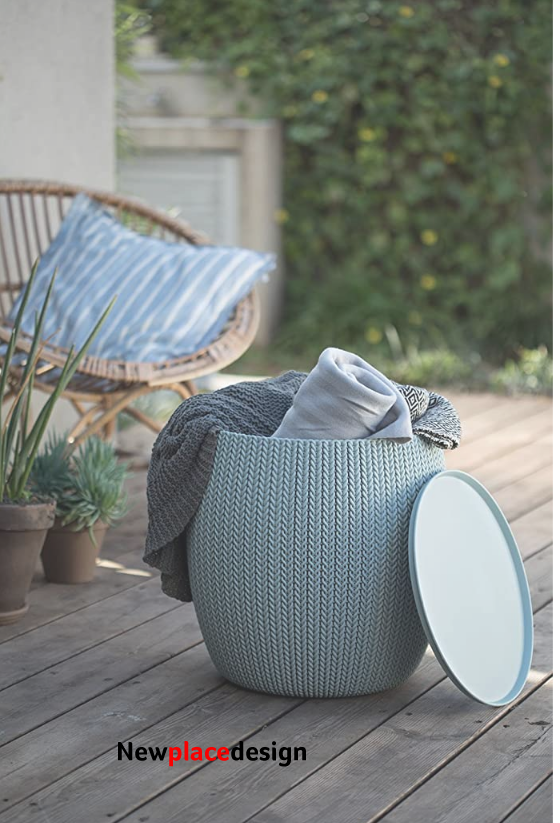 Pouf Ottoman Set of 2 with Storage Table for Patio and Room Décor