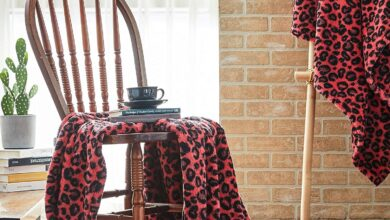 Premium Leopard Fluffy Throw Blanket - Red & Black