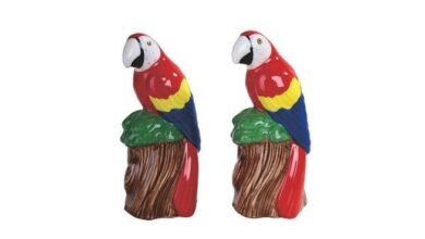 "Q-Max 4.5"" H Parrot Salt and Pepper Shaker 2 PCS Set (Red - 2 Piece), Multicolor(Ceramic)"