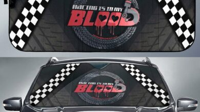 Racing Is In My Blood Car Windshield Auto Sun Shade V1 - Auto Sun Shade / Universal Fit