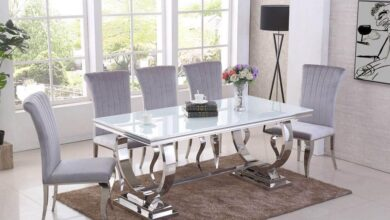 Rani White Glass & Chrome `O` 180cm Dining Table + Renee Velvet Chairs - Table + 6 Black Chairs