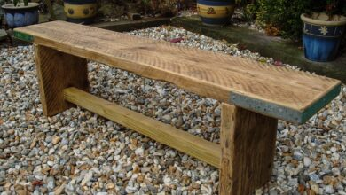 Reclaimed Scaffold Board Rustic Simple Wood Bench - 130cm / Clear Satin Varnish / No