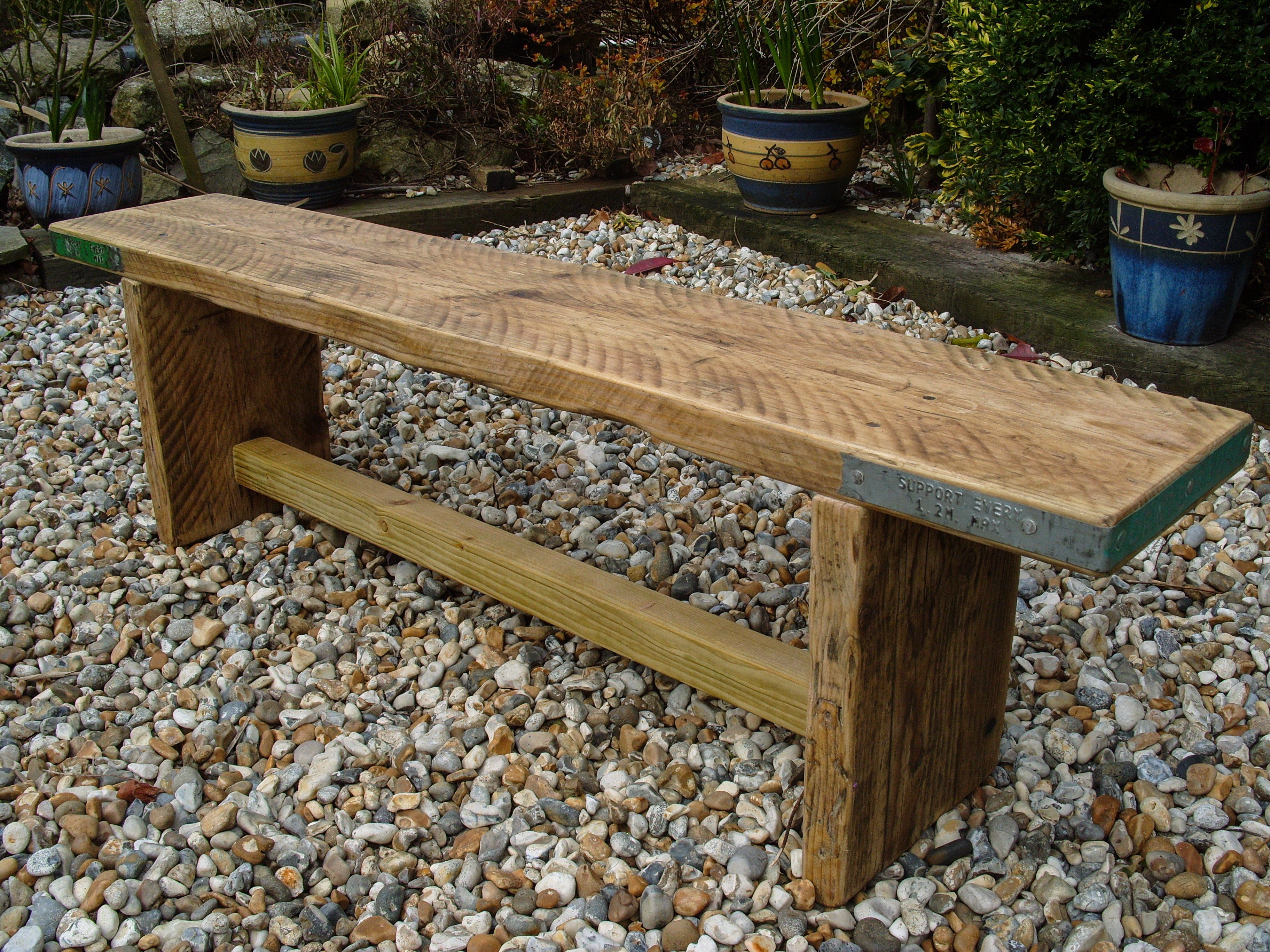 Reclaimed Scaffold Board Rustic Simple Wood Bench - 180cm / Clear Satin Varnish / Yes