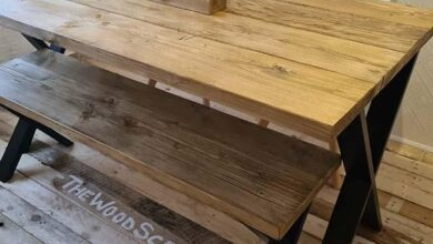 Reclaimed Scaffold Boards Industrial Style Dining Table - 200X90 / RAW STEEL - FREE