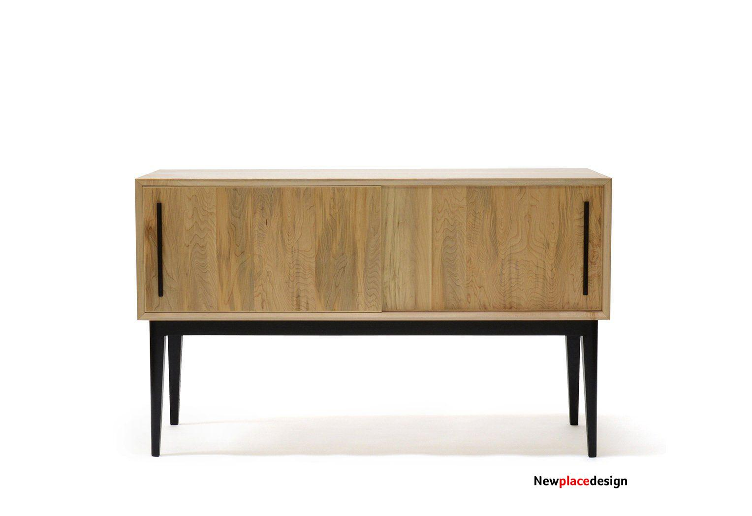 Record Cabinet | sliding door sideboard - white oak