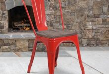 Red Farmhouse Metal Stackable Chair with Wood Seat