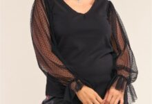 Relaxed Fit Mesh Polka Dot Sleeve Top - Black / 2XL