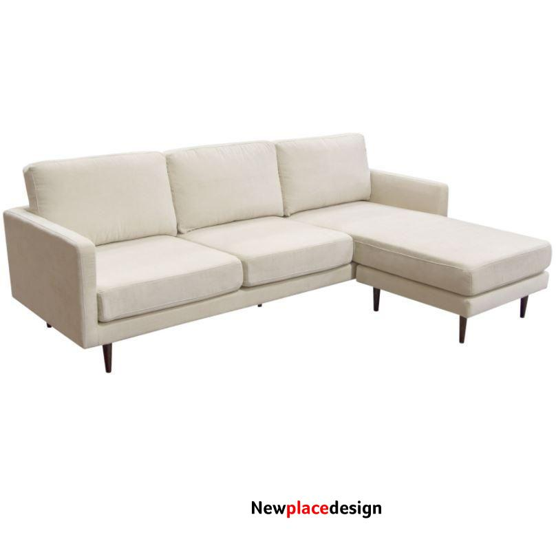 Reversible Chaise Sectional in Cream Fabric