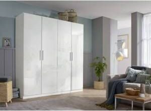 Rosario 2 Door Wardrobe Rauch Finish: High Gloss White, Size: 197cm H x 181cm W x 54cm D, Interior Option: Basic  - Size: 197cm H x 136cm W x 54cm D