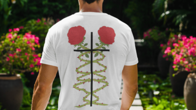 Rose Tee (Multiple Colors) - Athletic Heather / L