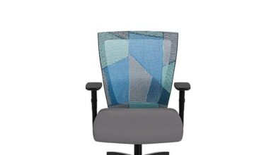 Run 2 Mid Back - Blue Patchwork / Adjustable Arms