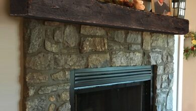Rustic Floating Fireplace Mantel - 72L / 6H x 8D / Stormy Gray