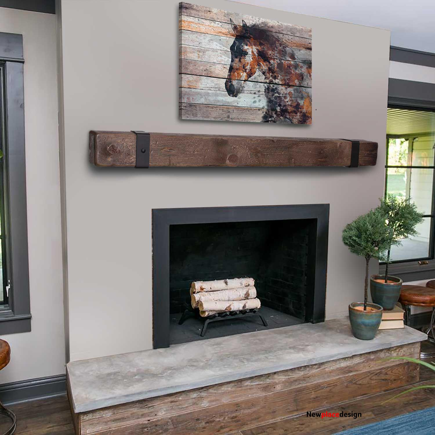 Rustic Mantel with Metal Rivet Straps - 78L / 8H x 8D / Early American