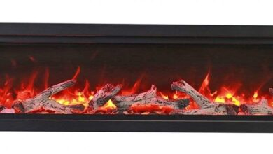 SYM-60 Bespoke 60 Electric Fireplace - Amantii - Clean face built-in with log and glass, black steel surround - Default Title