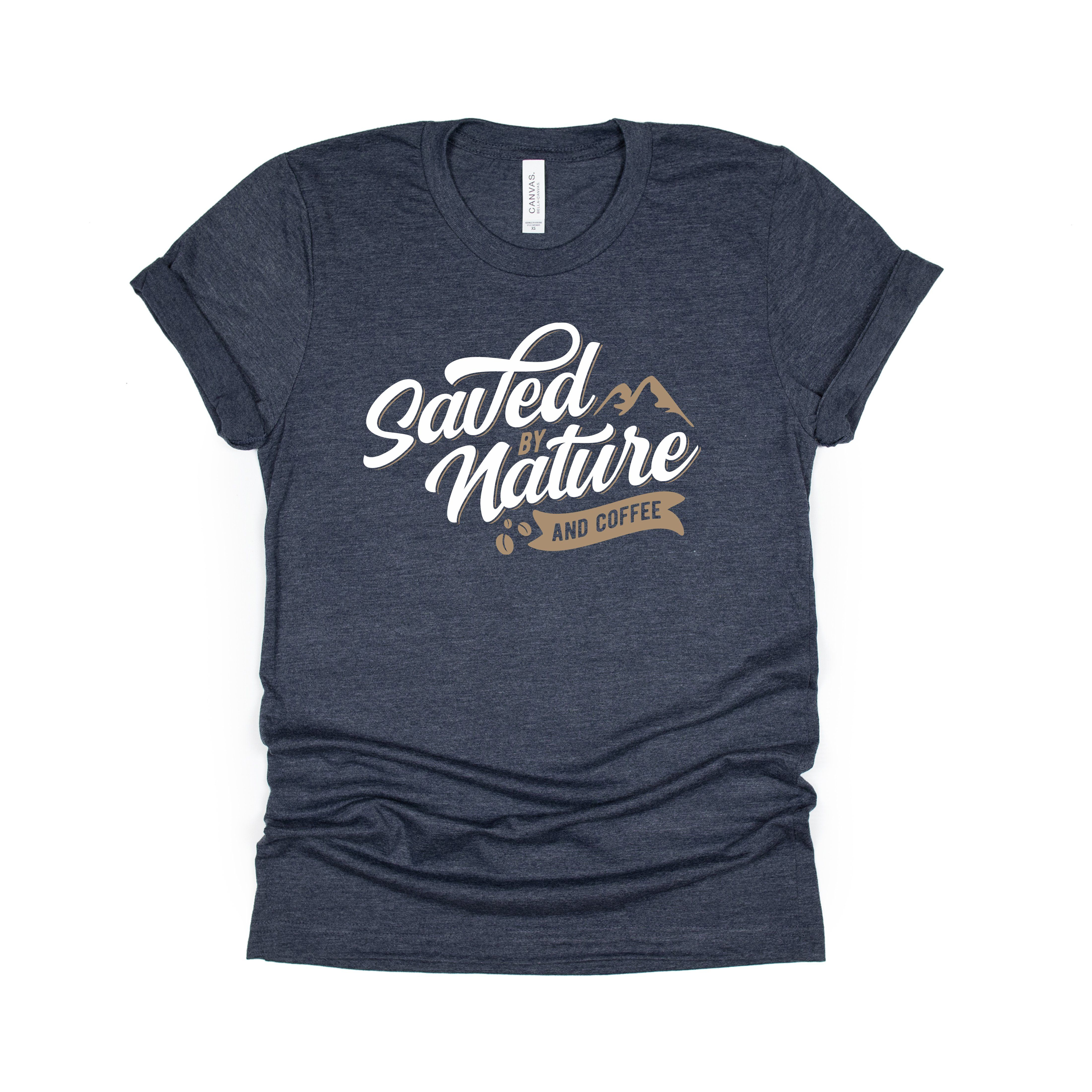 Saved by Nature and Coffee Tee - Heather Navy / M