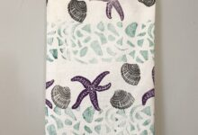 Seconds Sale: Tea towel hand-printed with coastal theme