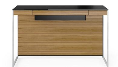 Sequel 20 Compact Desk - 6103 WL/S - Natural Walnut/Satin Nickel / 6108 WL - Compact Desk Back Panel in Natural Walnut
