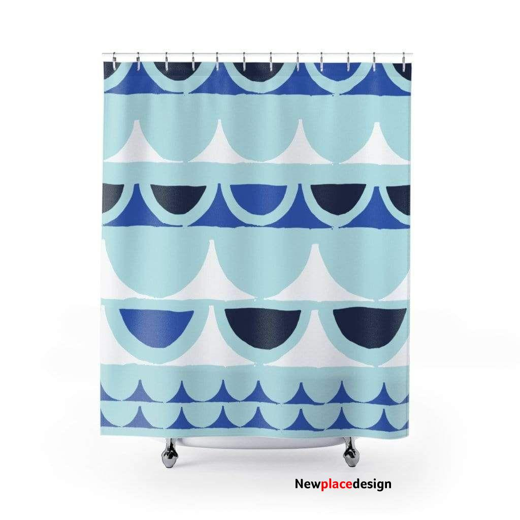 Serenity Blue Waves Shower Curtain - 71 × 74