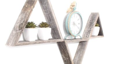Set of 3 Triangle Rustic Natural Weathered Grey Wood Open Box Shelve
