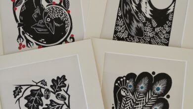 Set of 4 Folksy style hand printed linocut nature art prints - With 8x10 Mount
