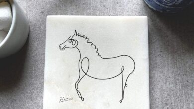 Set of 4 Picasso Art Marble Coasters