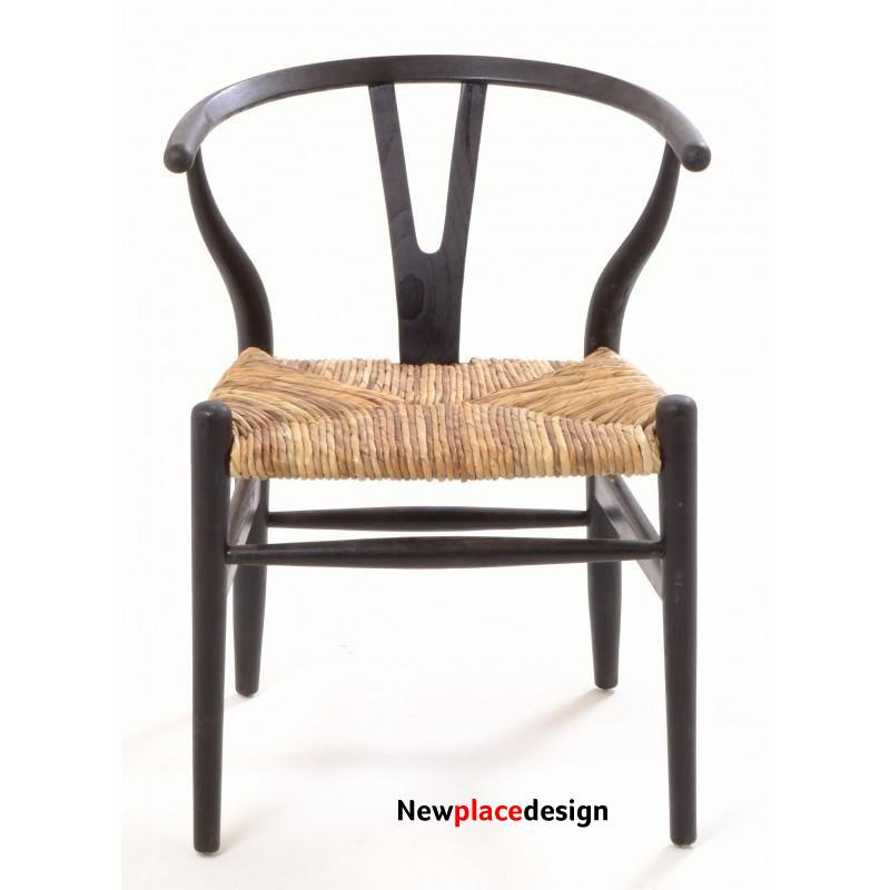 Shoreditch Black Chair with Rush Seat by Ancient Mariner Furniture