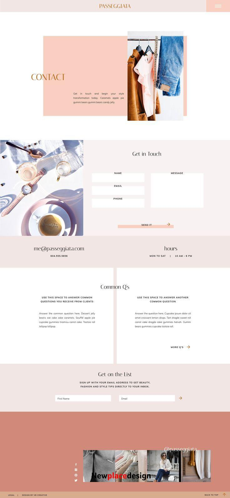 Showit Website Template for Feminine Personal Brands Passeggiata by VB Creative
