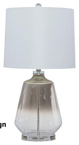 Signature Design by Ashley Jaslyn Ombre Glass Table Lamp with White Shade, Silver Finish - Ombre