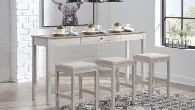 Skempton Counter Height Dining Table and Bar Stools Set of 3 D394-223 Casual Tables