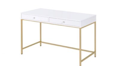 Sleek and Glossy White and Gold Office Desk