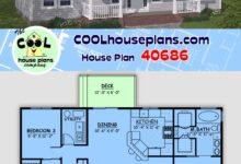 Small House Plan or Ranch Floor Plan 1400 Sq Ft, 3 Bedrooms and 2 Full Baths