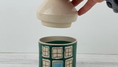 Small Porcelain Canister - Illustrated House Design Emerald Green