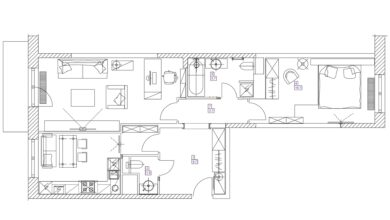 Small flat room - top view plans.Cartoon sketch footage .