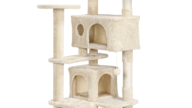 SmileMart 54.5 Double Condo Cat Tree with Scratching Post Tower, Gray - Beige