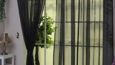 Solid Color Tulle Voile Door Window Curtain Drape Panel Sheer Scarf Valances - Black