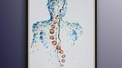 """Spine vertebrae Painting 40"""" oil painting on canvas, art, gift idea, thick layers, modern style, By Koby Feldmos"""