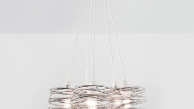 Spiral Nest Cluster 5 Chandelier - Powder Coated / Gunmetal Grey / Medium: 36 Inch / White