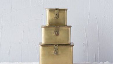 Square Decorative Metal Boxes with Gold Finish (Set of 3 Sizes)